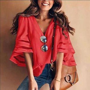Thin red shirt
